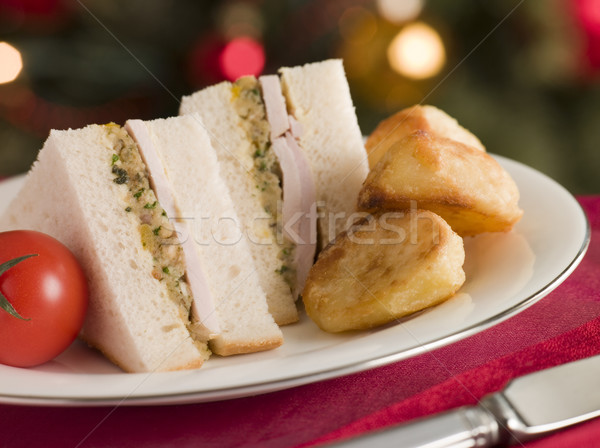 Roast Turkey Stuffing and Mayonnaise Sandwich with Cold Roast Po Stock photo © monkey_business