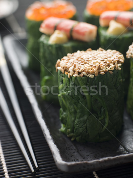 Rolled Spinach Three Ways-Snow Crab Toasted Sesame Seeds and sal Stock photo © monkey_business