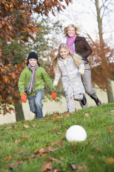 Stock fotó: Anya · gyerekek · játszik · futball · kert · ősz
