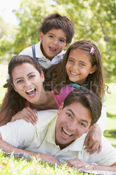 Aile açık havada gülen kız sevmek alan Stok fotoğraf © monkey_business