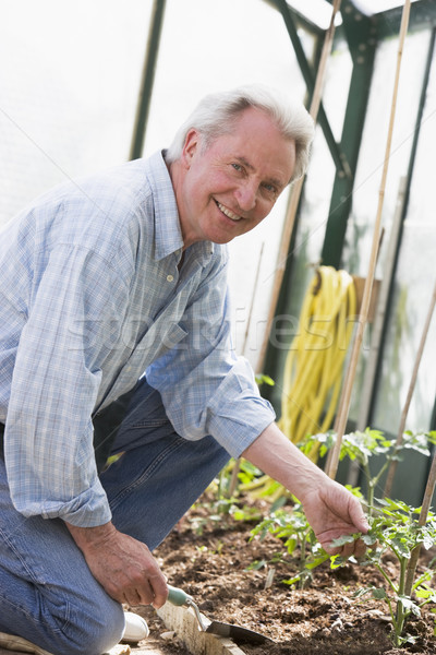 Photo stock: Homme · effet · de · serre · pelle · souriant · jardin