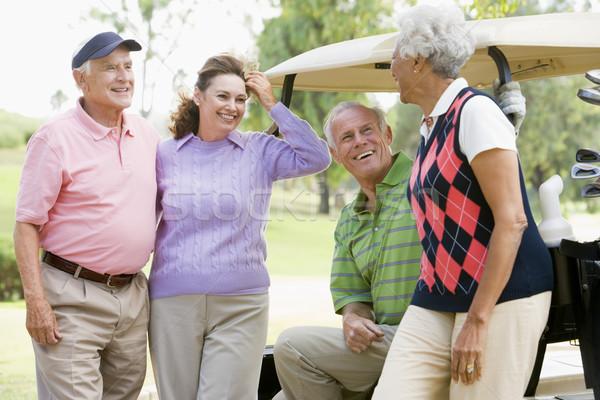 Stock foto: Porträt · vier · Freunde · genießen · Spiel · Golf