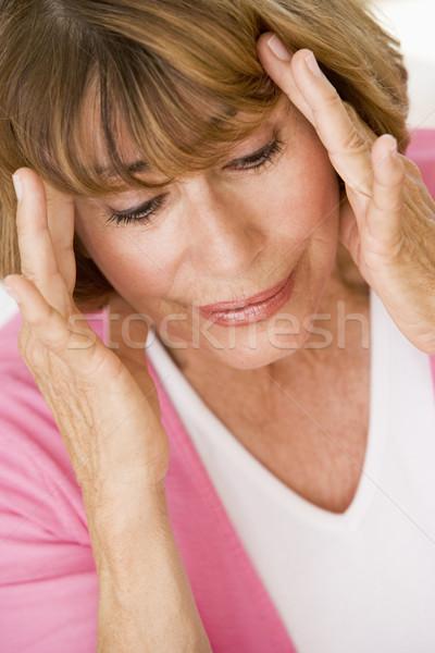 ストックフォト: 女性 · 頭痛 · 痛み · カラー · 医療 · 白人