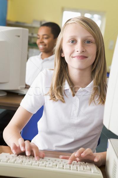 女学生 勉強 学校 コンピュータ 子 キーボード ストックフォト © monkey_business
