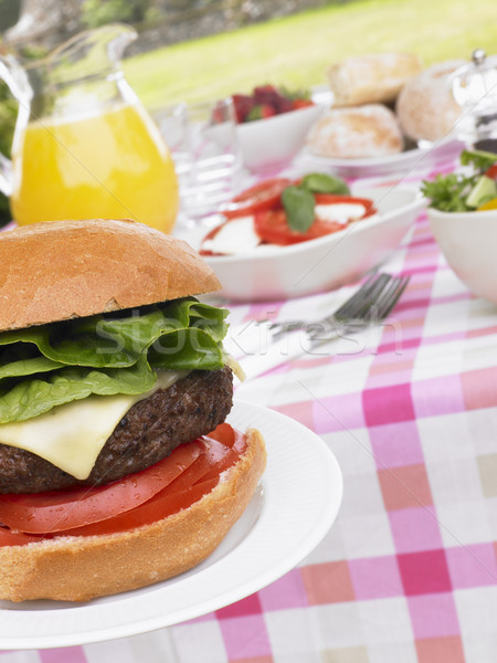 Al Fresco Dining With Hamburgers And Salad Stock photo © monkey_business