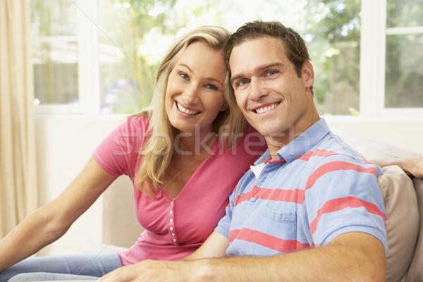 Stock fotó: Fiatal · pér · megnyugtató · kanapé · otthon · férfi · boldog