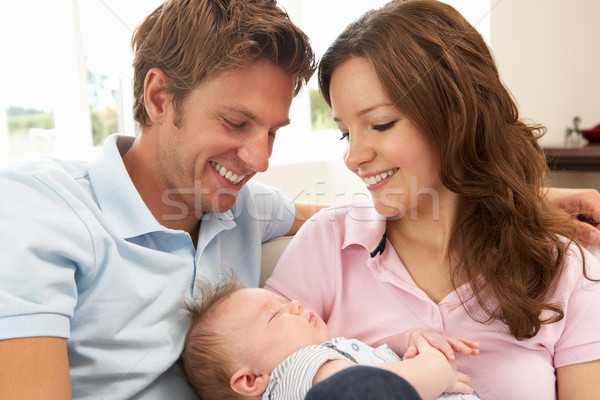 Close Up Of Parents Cuddling Newborn Baby Boy At Home Stock photo © monkey_business