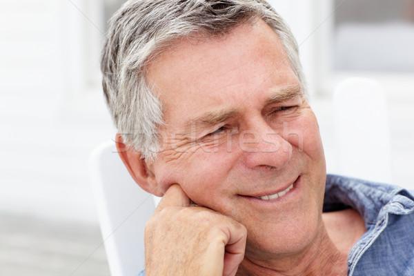 Starszy człowiek głowie plecy portret osoby Zdjęcia stock © monkey_business