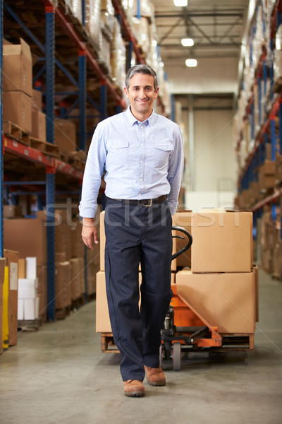 Businessman Pulling Pallet In Warehouse Stock photo © monkey_business