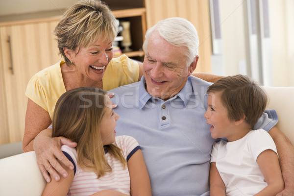 Photo stock: Grands-parents · rire · petits · enfants · famille · fille · homme