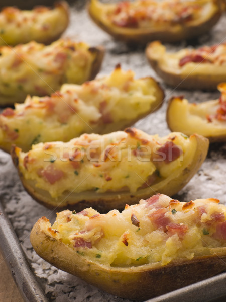 Stuffed Potato Skins a Tray with Sea Salt Stock photo © monkey_business