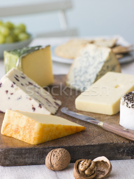 Selection of British Cheeses with Walnuts Biscuits and Grapes Stock photo © monkey_business