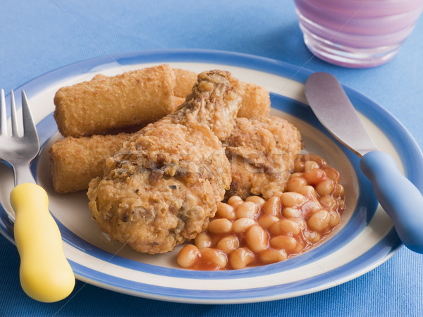 Southern Fried Chicken with Croquette Potatoes and Baked Beans Stock photo © monkey_business