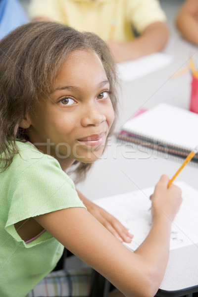 Zdjęcia stock: Szkoła · podstawowa · biurko · pracy · dziewczyna · dzieci · dziecko