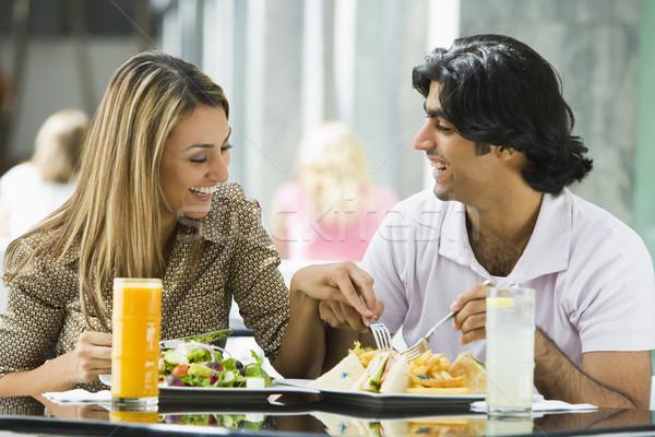 Couple enjoying lunch at cafe Stock photo © monkey_business