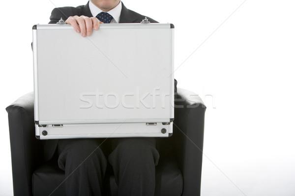 Businessman Sitting Opening Brief Case  Stock photo © monkey_business