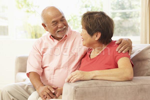 Photo stock: Couple · de · personnes · âgées · détente · maison · ensemble · femme · couple