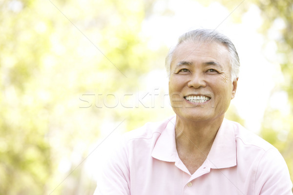 Stockfoto: Portret · senior · man · park · tuin · asian