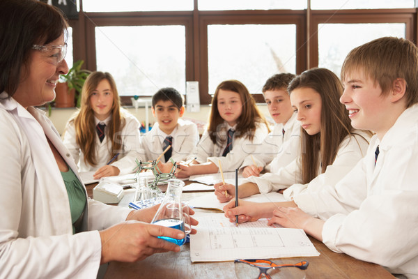 Group Of Teenage Students In Science Class With Tutor Stock photo © monkey_business