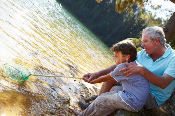 Hombre nino pesca junto manos verano Foto stock © monkey_business