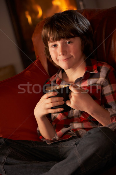 Young Boy Relaxing With Hot Drink By Cosy Log Fire Stock photo © monkey_business