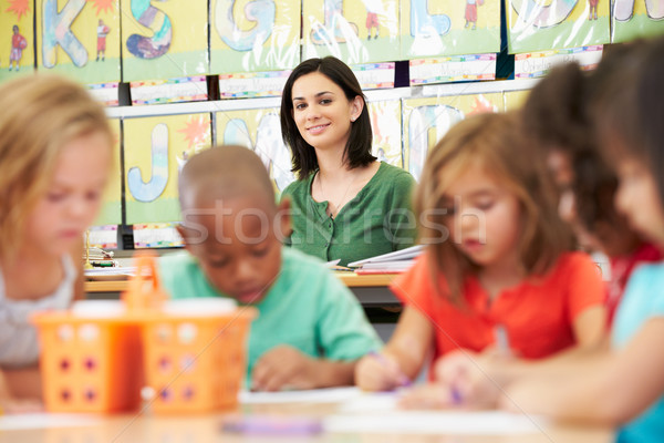 Group Of Elementary Age Children In Art Class With Teacher Stock photo © monkey_business