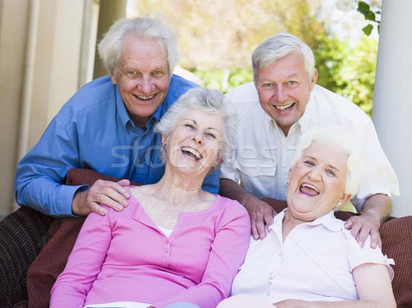 Foto d'archivio: Gruppo · senior · amici · rilassante · insieme · seduta