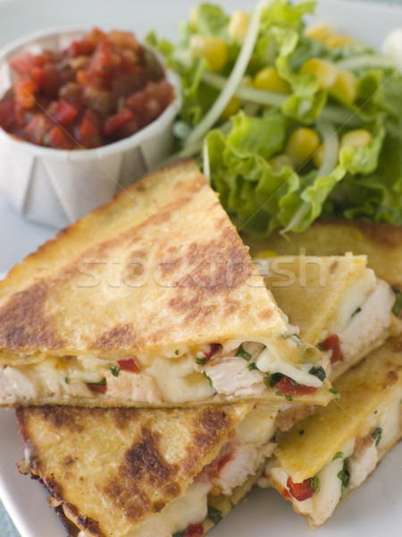 Quesadillas with Cajun Chicken Cheese Tomato Salsa and corn Sala Stock photo © monkey_business