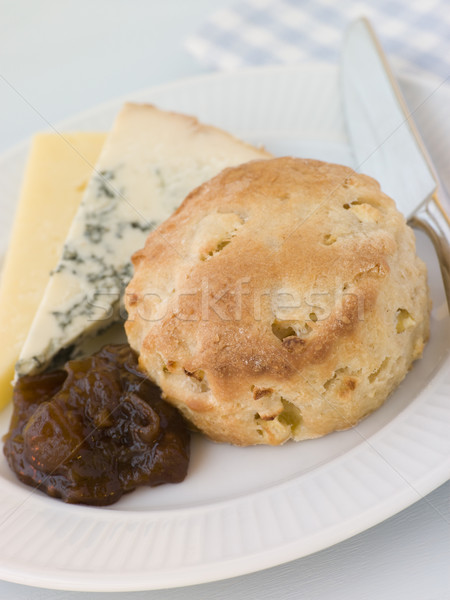 Cinnamon and Apple Scone with Stilton Cheddar and Chutney Stock photo © monkey_business