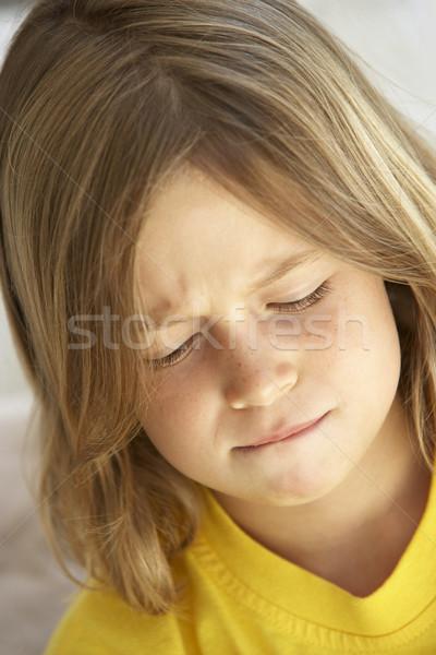Photo stock: Portrait · fille · regarder · malheureux · enfants · triste