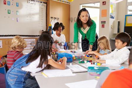 Schoolchildren and their teacher in a primary class Stock photo © monkey_business