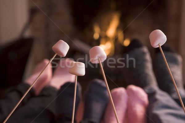 Stockfoto: Voeten · haard · brand · man · gelukkig · winter