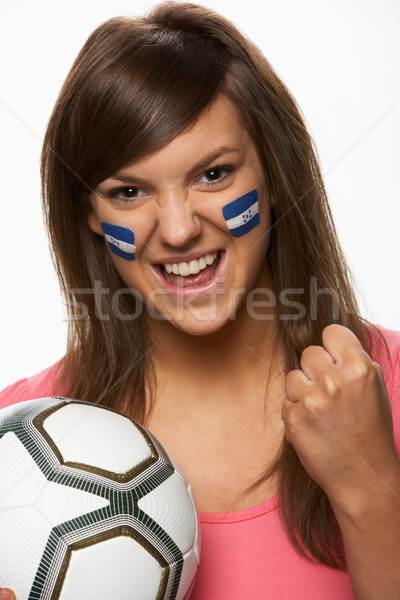 Young Female Football Fan With Honduran Flag Painted On Face Stock photo © monkey_business