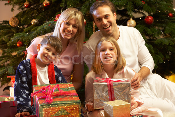 Family Opening Christmas Present In Front Of Tree Stock photo © monkey_business