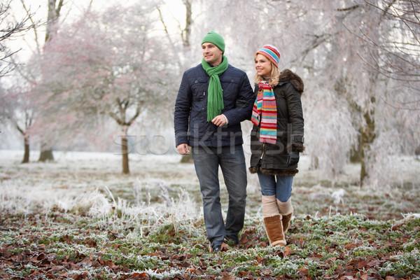 カップル 冬 徒歩 冷ややかな 風景 女性 ストックフォト © monkey_business