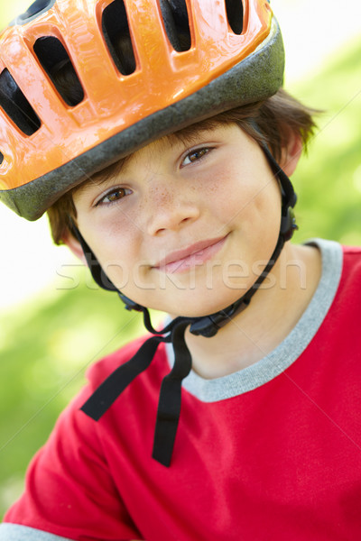 Menino ciclismo capacete árvores exercer Foto stock © monkey_business