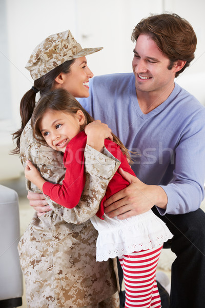 Familie groet militaire moeder home Stockfoto © monkey_business