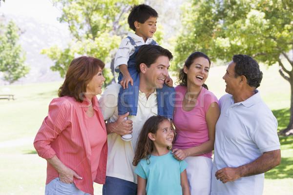 Uitgebreide familie park glimlachend familie paar groep Stockfoto © monkey_business