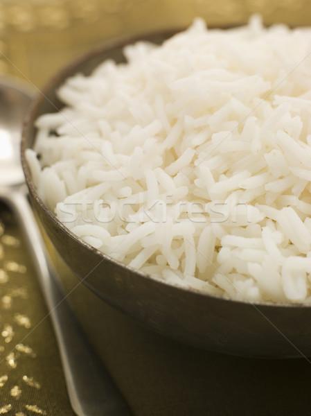 Kom gekookt basmati rijst lepel Stockfoto © monkey_business