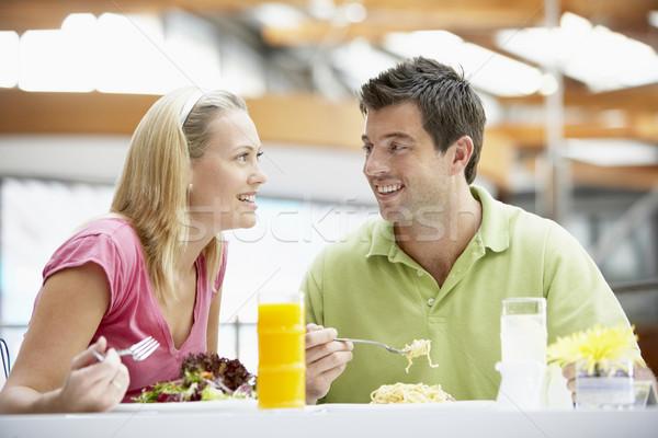 Foto stock: Casal · almoço · shopping · homem · feliz · cor