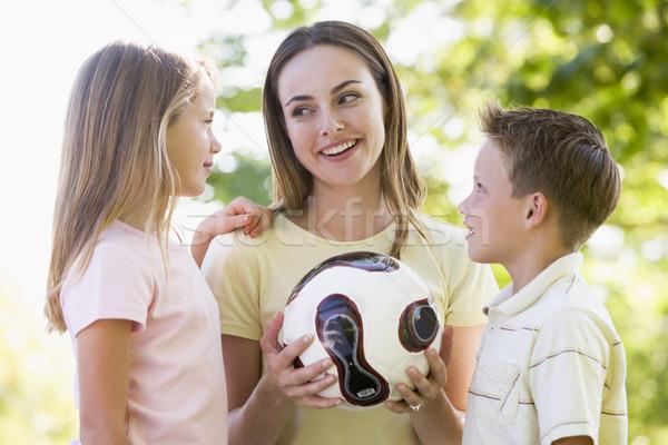ストックフォト: 女性 · 2 · 小さな · 子供 · 屋外