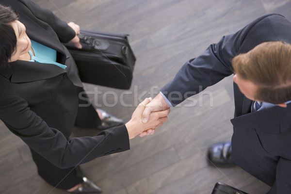 Two businesspeople standing indoors shaking hands Stock photo © monkey_business