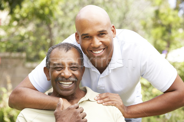 Stock foto: Senior · Mann · Erwachsenen · Sohn · Familie
