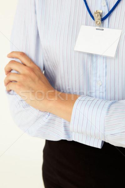 Iş rozet yalıtılmış beyaz kadın ofis Stok fotoğraf © monkey_business
