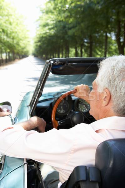 Idős férfi sportautó autó út nap Stock fotó © monkey_business