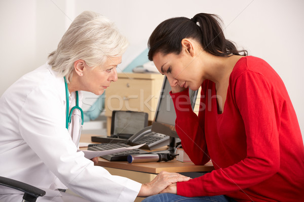 American doctor with depressed woman patient Stock photo © monkey_business