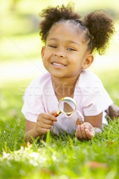 Fiatal lány felfedez természet fű nap lányok Stock fotó © monkey_business
