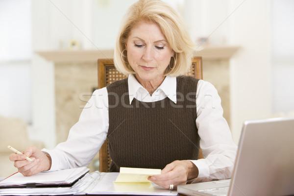 Kadın yemek odası dizüstü bilgisayar evrak tablo çalışma Stok fotoğraf © monkey_business