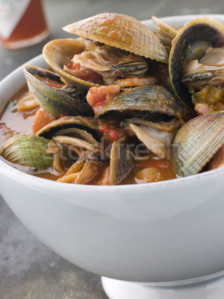 Bowl of Manhattan Clams with Hot Chilli Sauce Stock photo © monkey_business