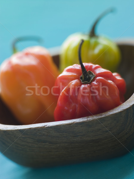 Scotch Bonnet Chilies In a Wooden Dish Stock photo © monkey_business